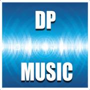 A blue square with white waves in the middle of picture and the inscription DPMusic in white letters