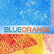 an abstract graph in blue and orange and the inscription BLUEORANGE in the middle