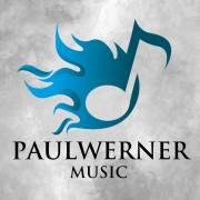 Abstract background graphic, grey and black, with a blue fire and inscription Paul Werner Music in black