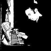 A black and white graph representing a man playing the piano